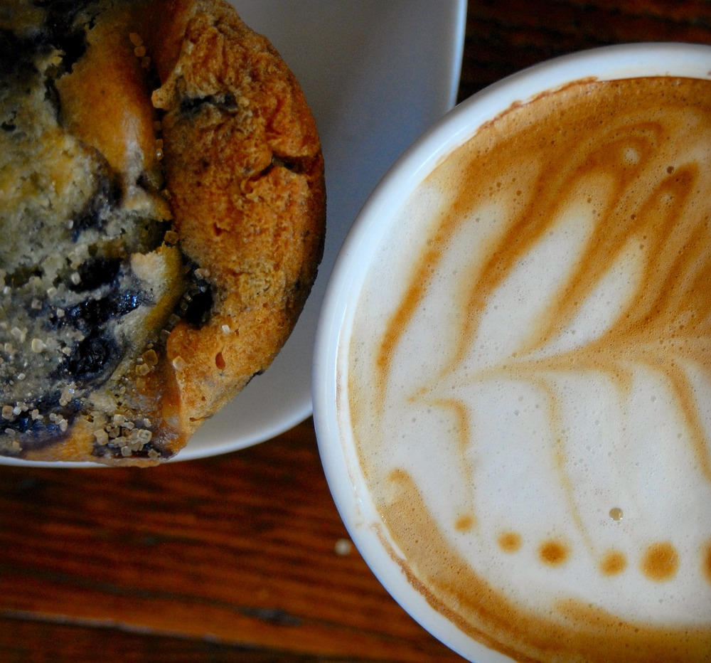 latte and muffin