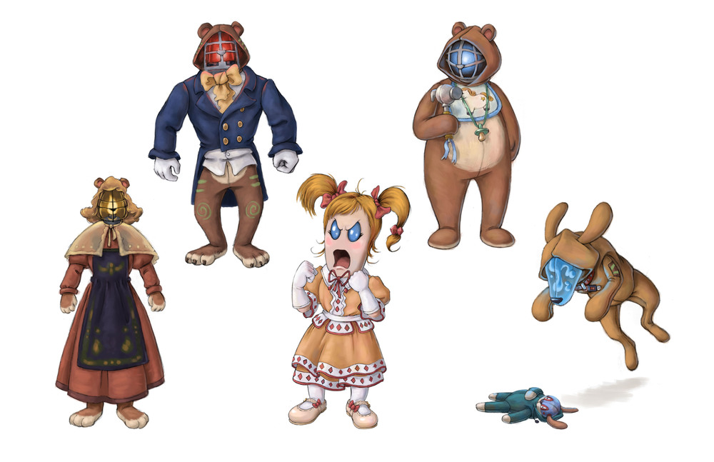 Goldilocks and the Three Lamp Bears Character Designs