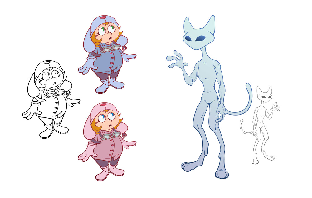 Girl and Alien Cat