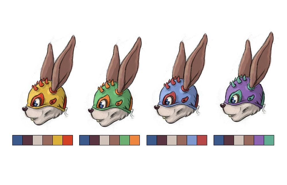 Lucha Liebre Mask Color Studies