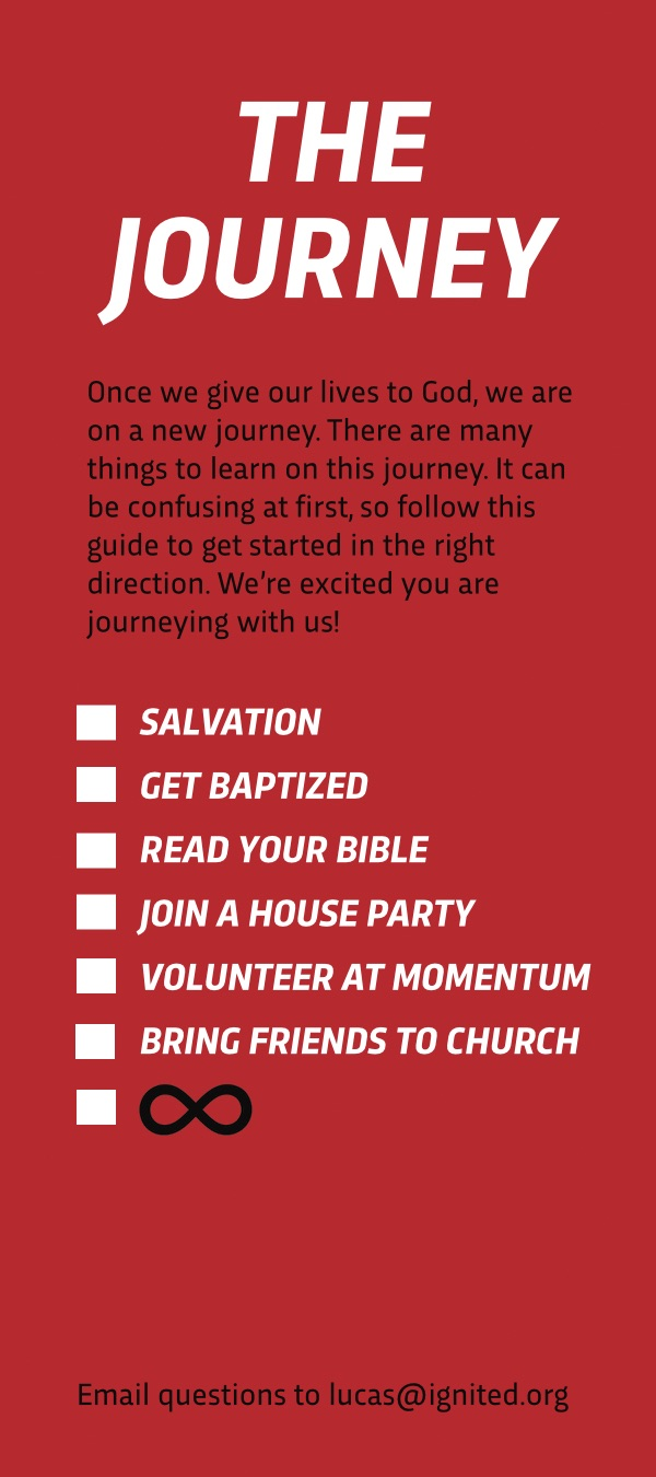 When people give their lives to Jesus, we give them this 'Journey card' so they know what their next steps are. - We want to be your friend till the end!