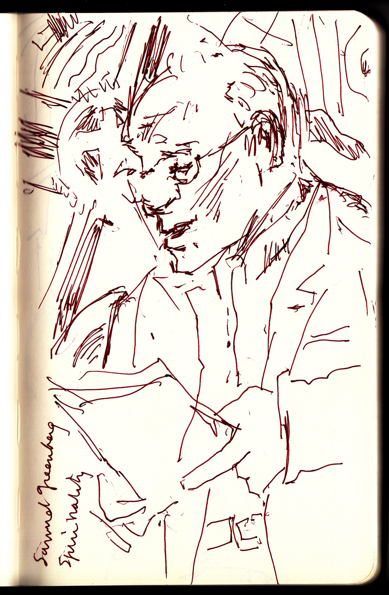 "Charles Bernstein Reading at MoMA's ""Inventing Abstraction"", 4/2013 Ink in Sketchbook"