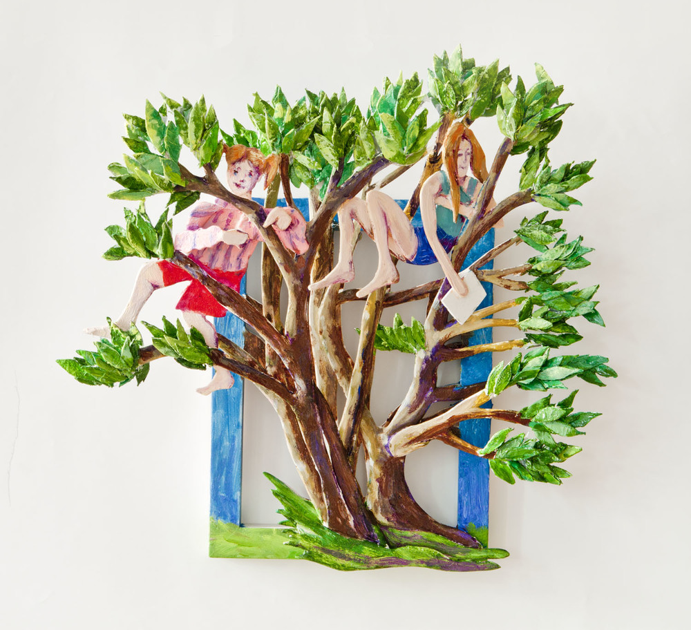 "The Girls in the Tree 2012 oil on wood 15.5"" x 16"" x 5"""
