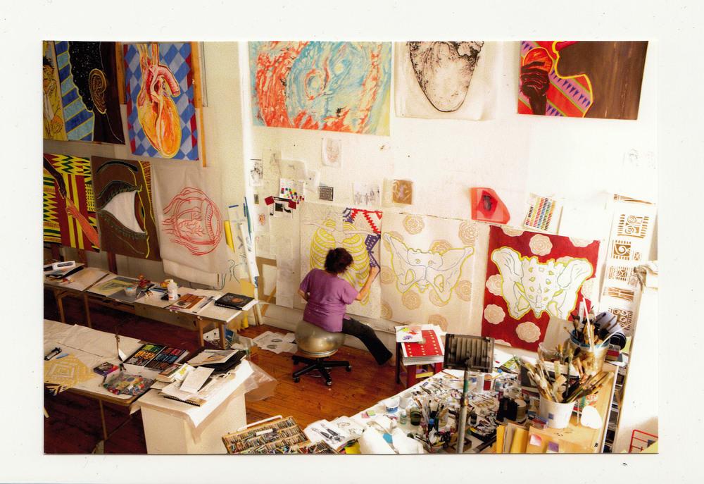 Studio Shot, Working on Panels for Robert Venable Park, New York City Park's Department, 2010