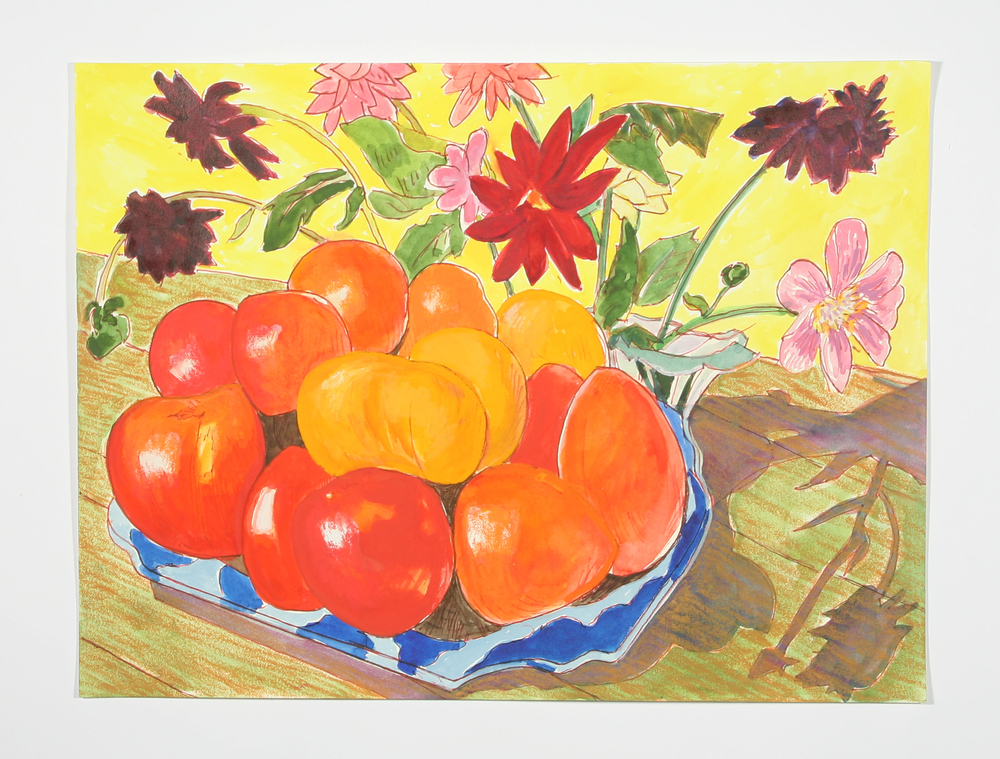 """""""Nathan's Tomatoes"""" gel pen, watercolor and gouache, 2014"""