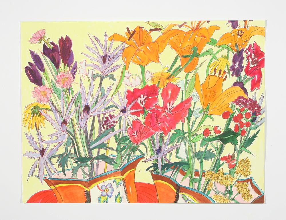 """Elizabeth's Flowers"" gel pen, watercolor and gouache, 2014"