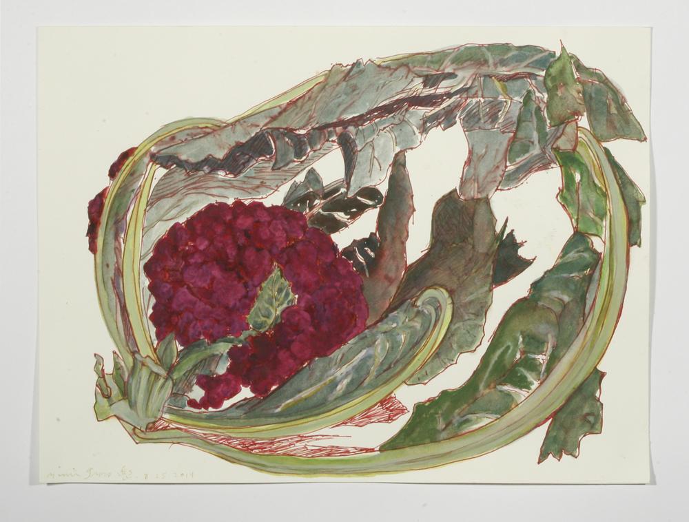 """Purple Broccoli"" gel pen, watercolor and gouache, 2014"