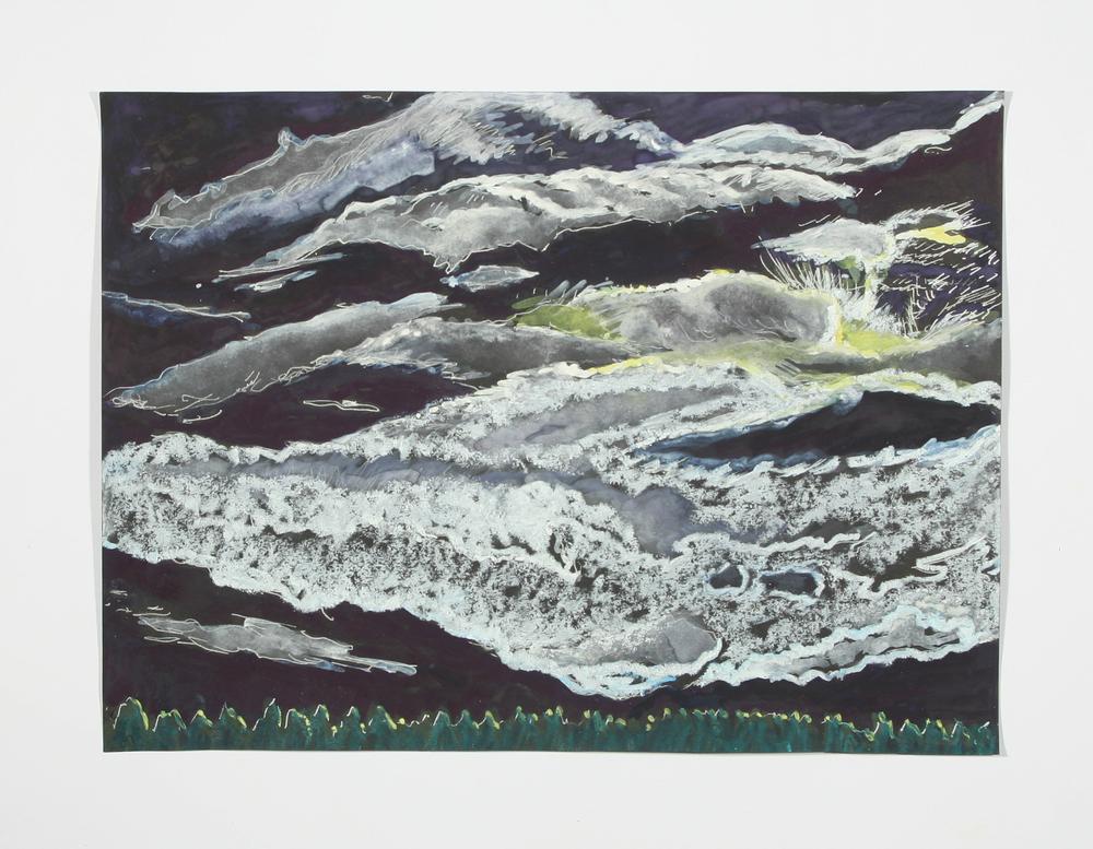 """Vermont Night Scene"" gel pen, watercolor, crayon and gouache, 2014"