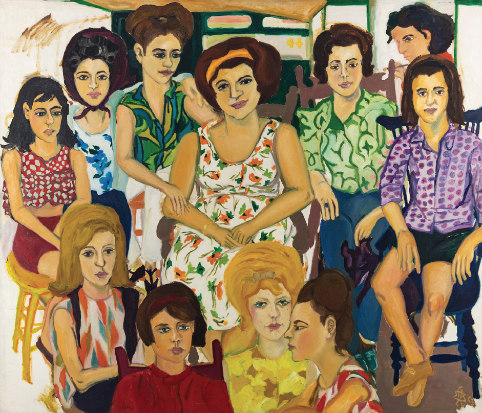 Mimi Gross, Grand Street Girls, 1963, oil on canvas, 60 x 70 3/16 inches
