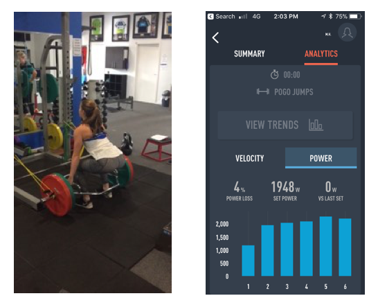 Figure 7: (Left) Hex Bar Deadlift; (Right) Corresponding Repeated Hop Metrics from PUSH iOS App