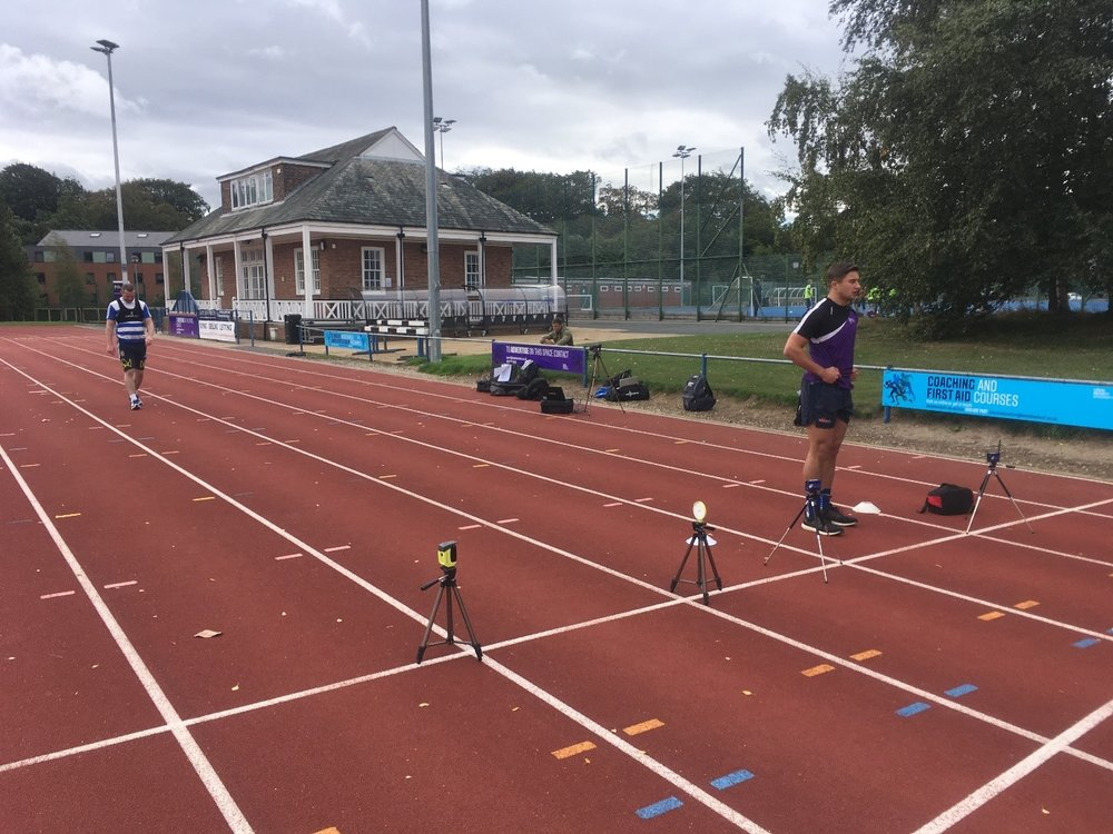 Figure 3.  Feedback can be provided in a variety of methods including during sprint training. I often try and set up timing gates next to each other to help drive competition and motivation.