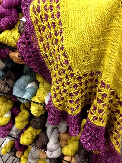 Our new color display in the booth at TNNA, with the Maragon shawl!