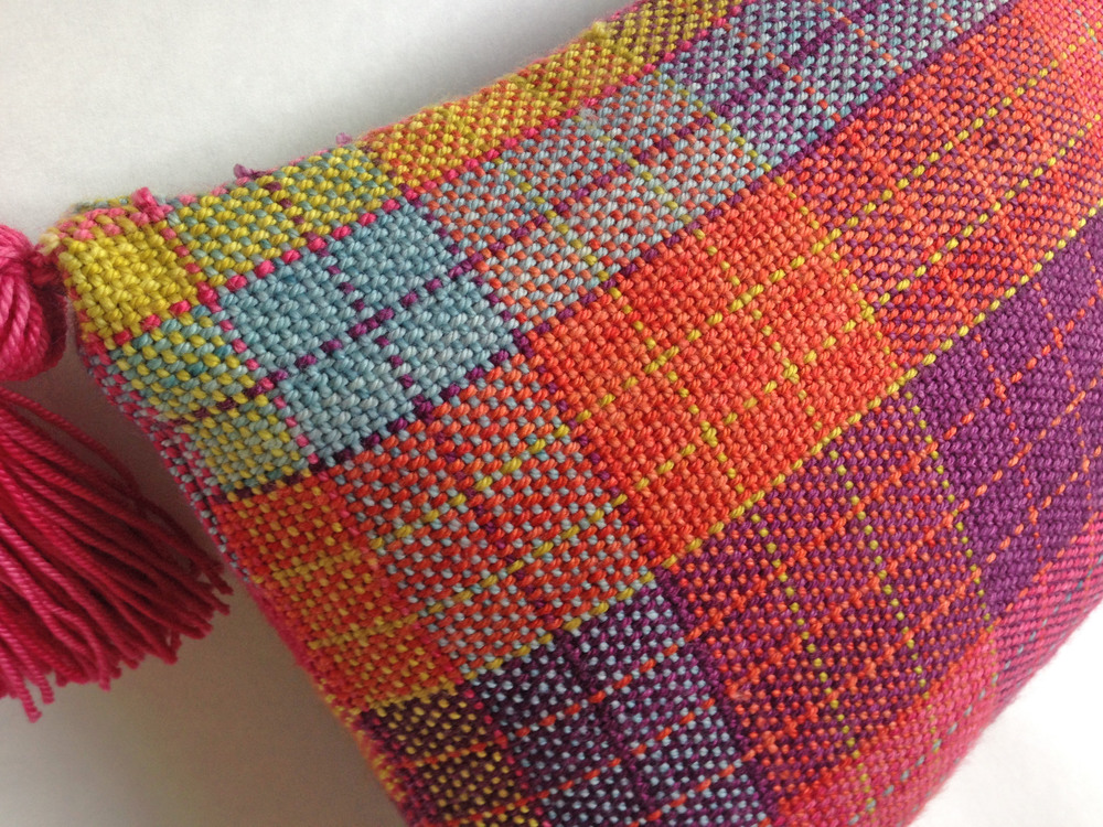 Multiplication Pillow woven in Anzula Cricket on a Cricket Loom