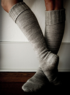 Little Cable Knee Highs by Purl Soho, shown in Seaside.