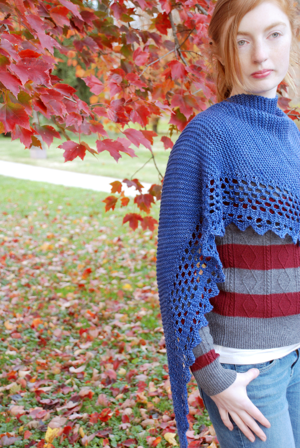Lesage, knit in Cricket, shown in Periwinkle.