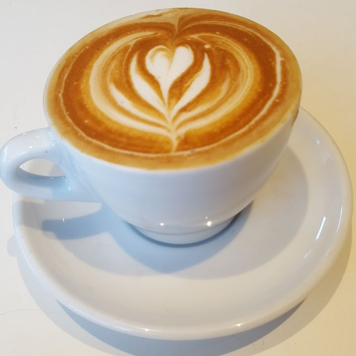 """January 21: """"Have you heard of a flat white? So yum, and starting the morning off right before our show atTwist Knits"""" At Two Guns Espresso in Manhattan Beach."""
