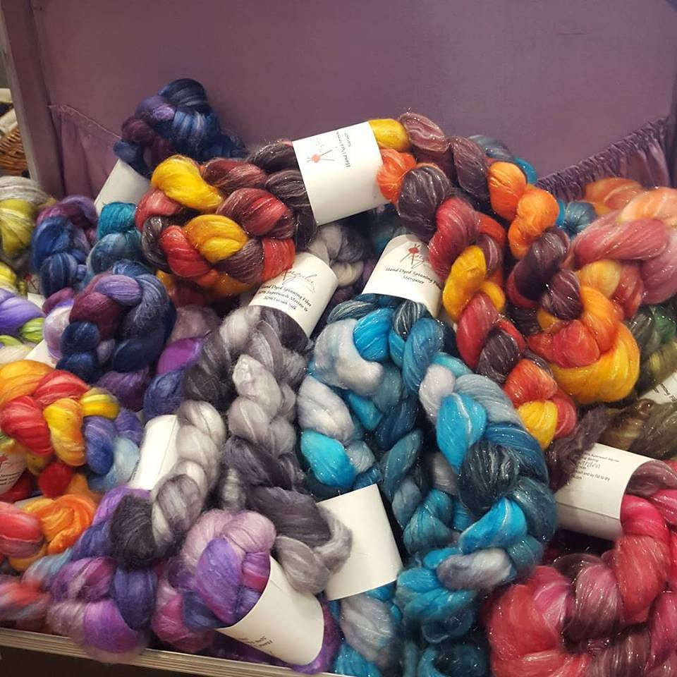 """January 22: """"We just got a fresh shipment of spinning fiber in!"""" at Alamitos Bay Yarn Company."""