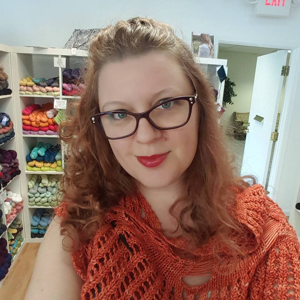 January 30: And here she is at Monarch Knits. I love this shop. And I love that shawl. So basically my jealously is running high right now.