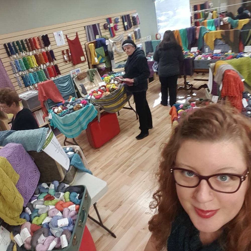 January 31: To kick off this part of my slideshow of jealousy, Sabrina is taking a selfie at  Green Planet Yarn . When I'd first started dating my husband we visited Campbell, and I remember walking by after Green Planet Yarn had closed for the night, announcing that we'd have to visit the next day. He likes to tell it that I left a faceprint all the way across their windows as he dragged me away. Either way, I got a few skeins the next day, and he learned a valuable lesson—don't try and stop me when I'm intent on visiting an LYS.