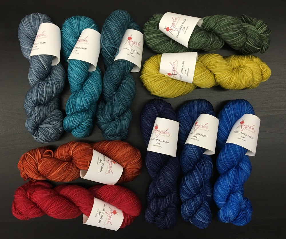 Ava in (clockwise from top left) Denim, Aqua, Teal, Keola, Temperance, Chiva, Blueberry, Navy, Garnet, and Arizona.