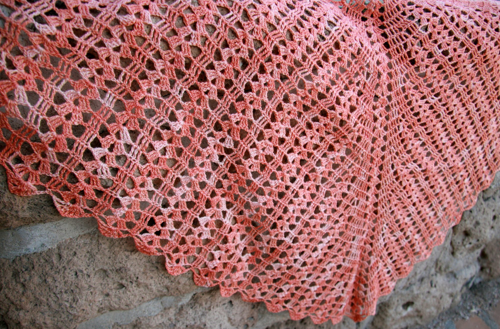 Ecliptic crocheted in Anzula Breeze, colorway Persimmon.