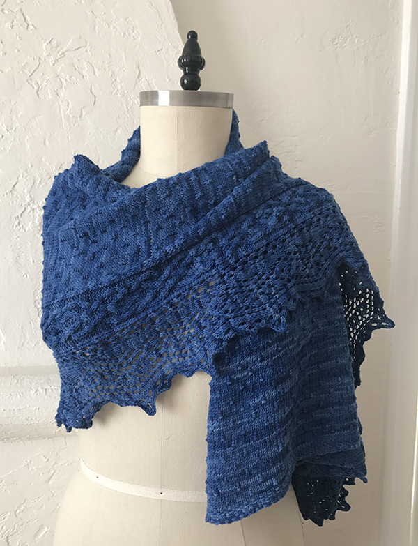 Escondido Falls Shawl in Blueberry Anzula Gerty.
