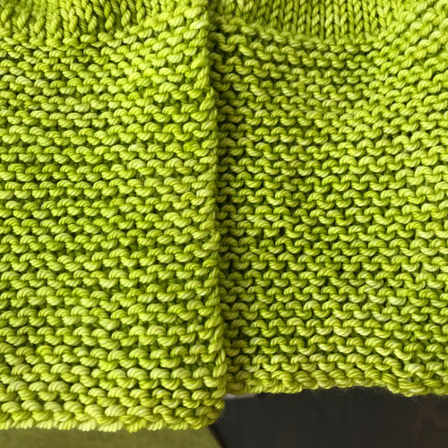 Garter Stitch Blocked vs. Unblocked
