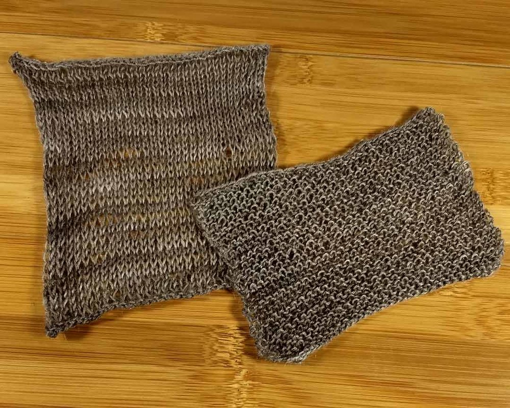 Meridian swatches, knit