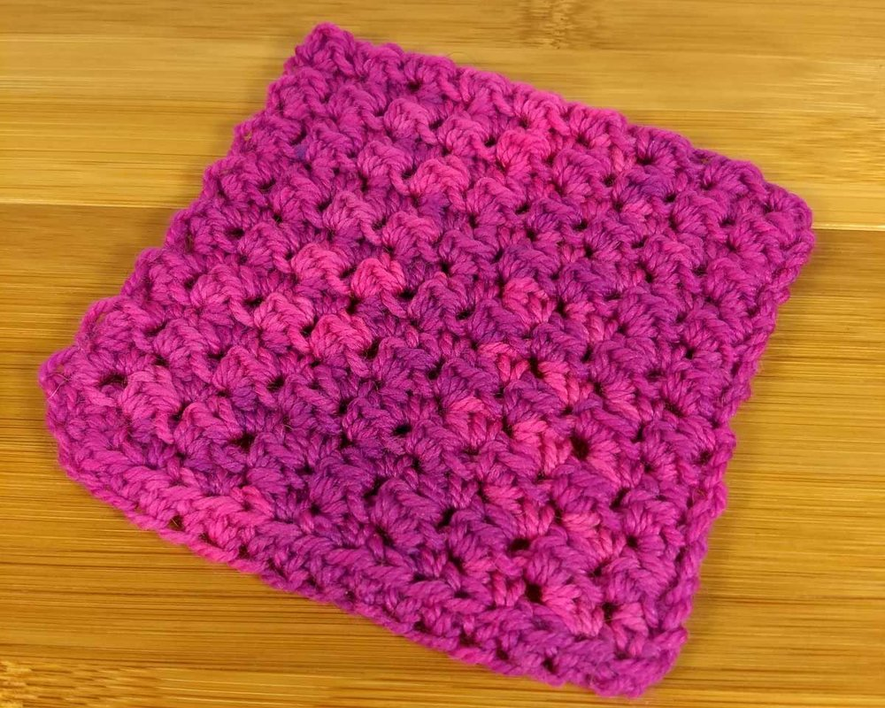 Ava crochet swatch in a textured stitch.