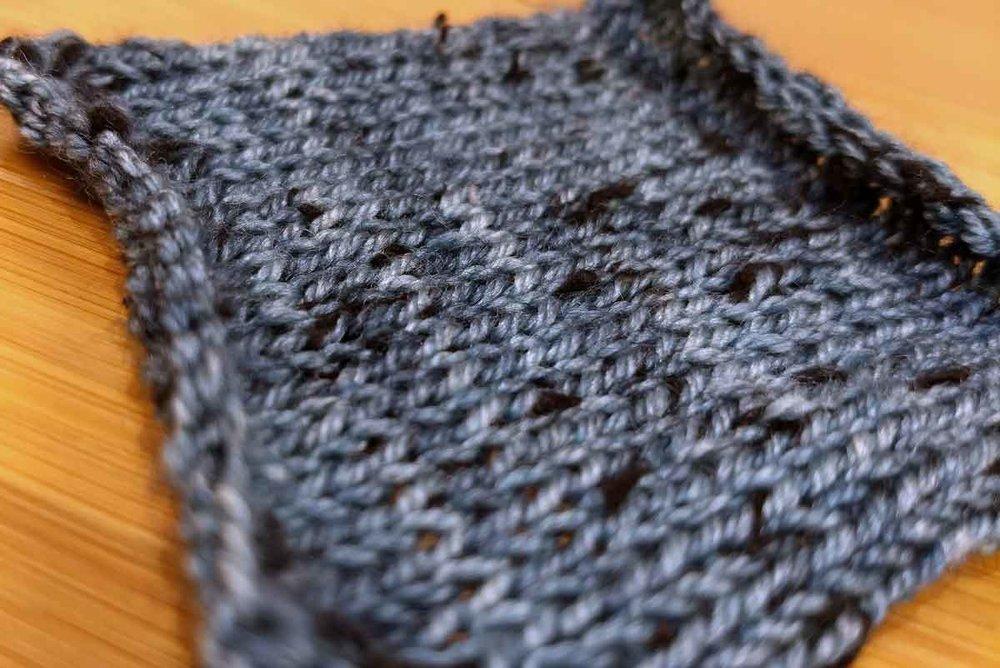 Dottie, knit stockinette swatch