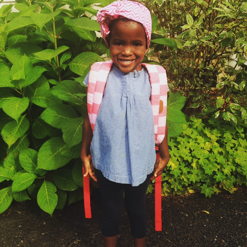 August 2015. Off to summer camp at her new preschool.