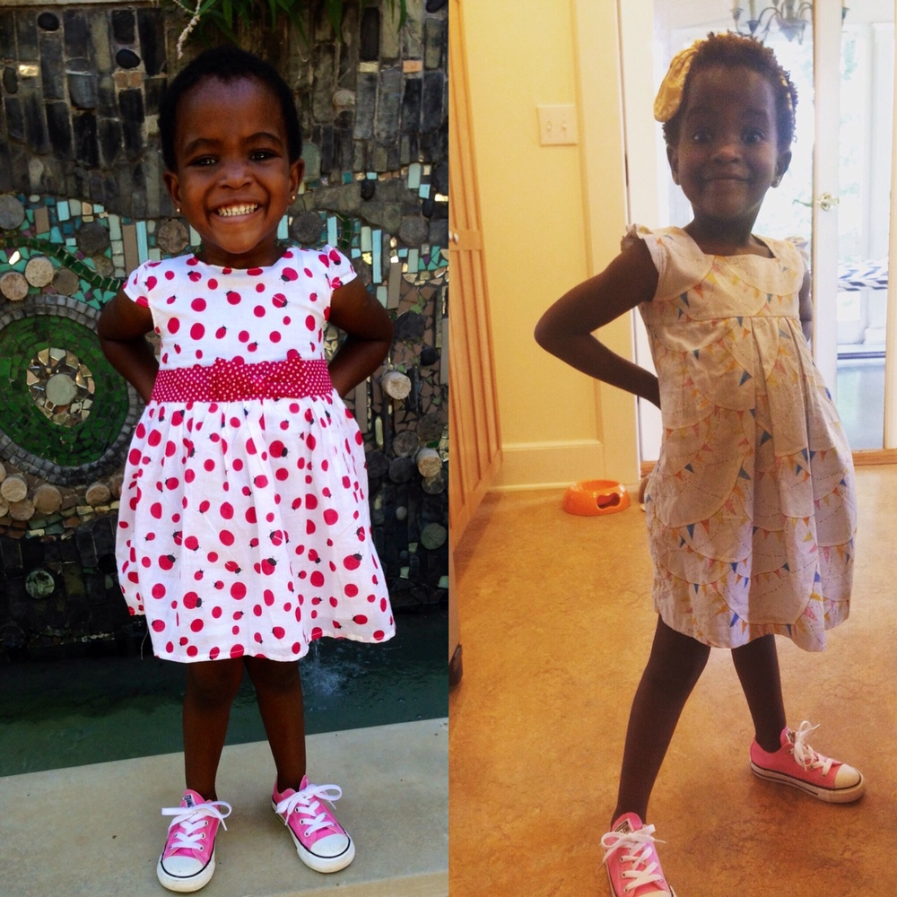 January 2015 & August 2015. Although she's still rocking the same pink sneakers, we've gone up two shoes sizes!