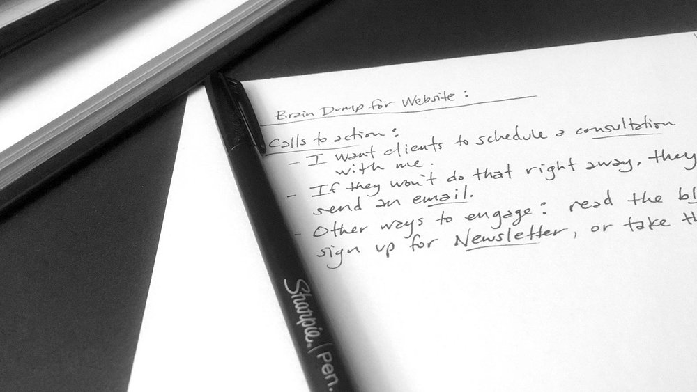 Image of scribbled notes for a website plan