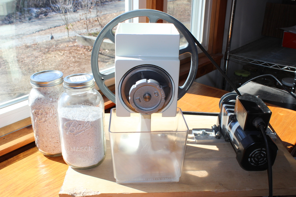 The Country Living Grain Mill (with jars of Painted Mtn and Hopi Blue cornmeal)