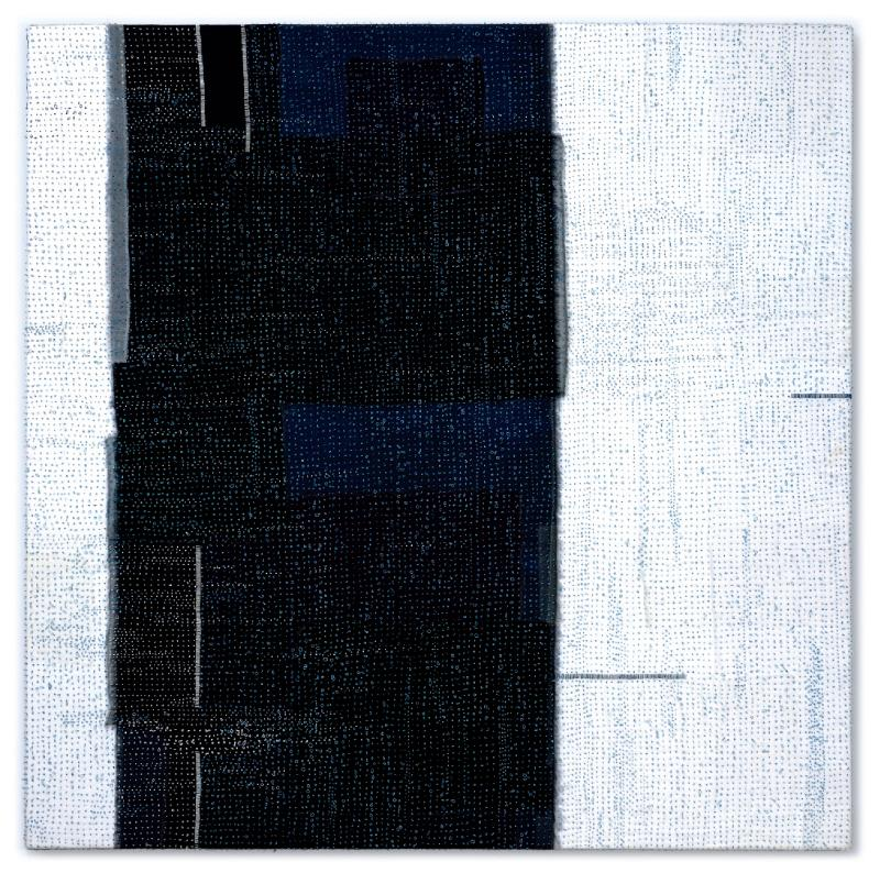 Soliloquy 1 by Carolyn Nelson  Silk organza over linen, hand stitched with indigo-dyed silk thread - 2013.
