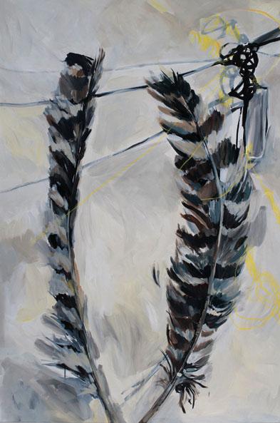 "Hawk Feathers 30"" x 44"""