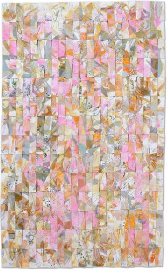 "Marguerite Jay Gignoux Garden Pinks Oil on tissue, hand made papers, vintage books, silk, ink, paper thread, machine and hand stitched on paper 68"" x 42"""