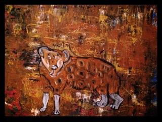 "Hyena, acrylic on canvas, 30""x40"""