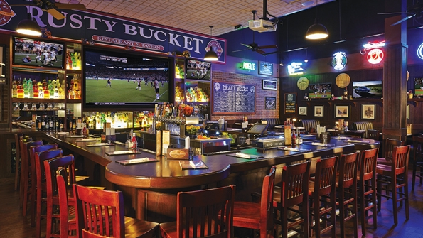 Rusty Bucket Restaurant and Tavern has a family-friendly sports bar feel.