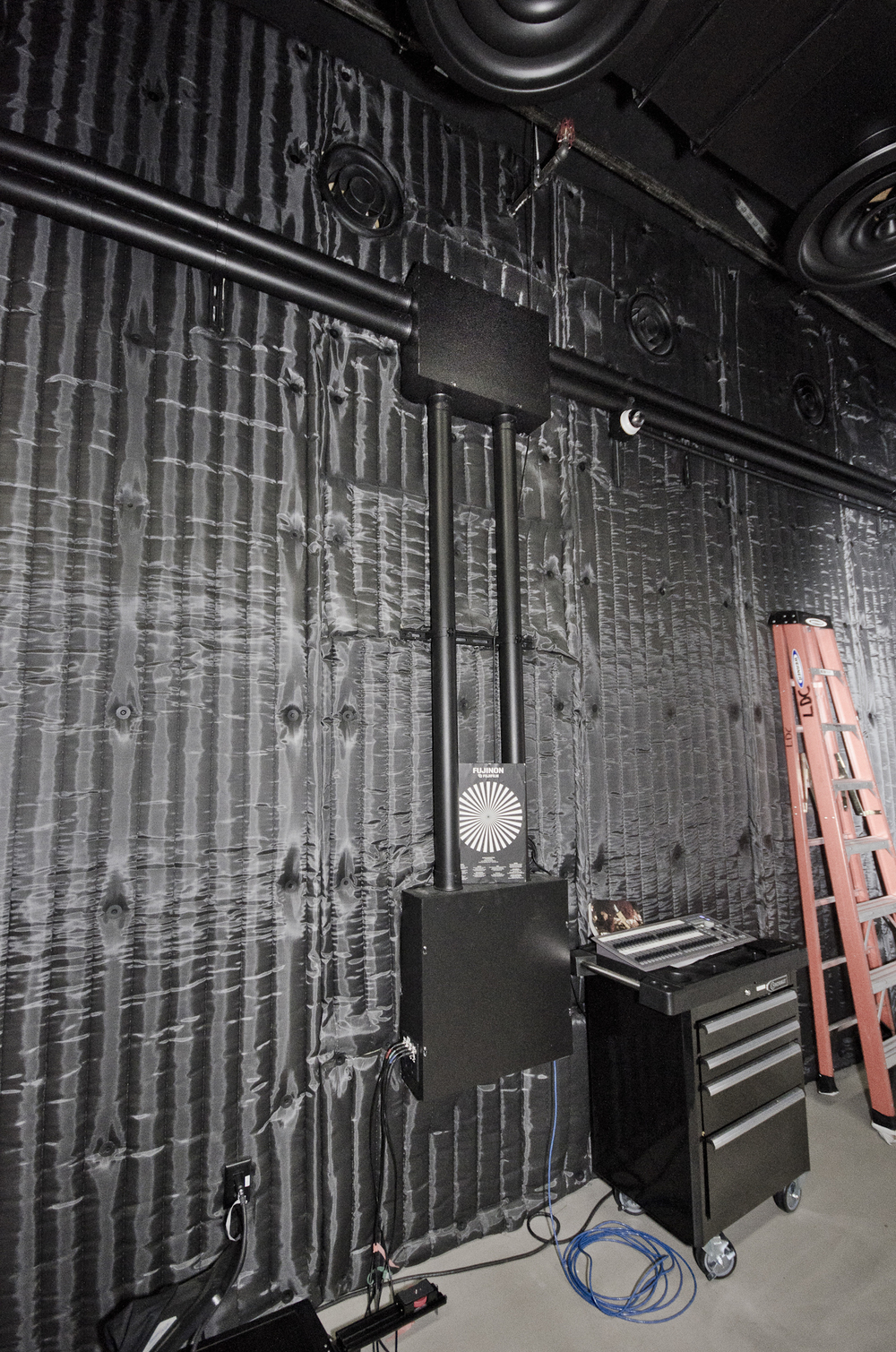 Detail of sound stage interior acoustic finish and conduit raceway 