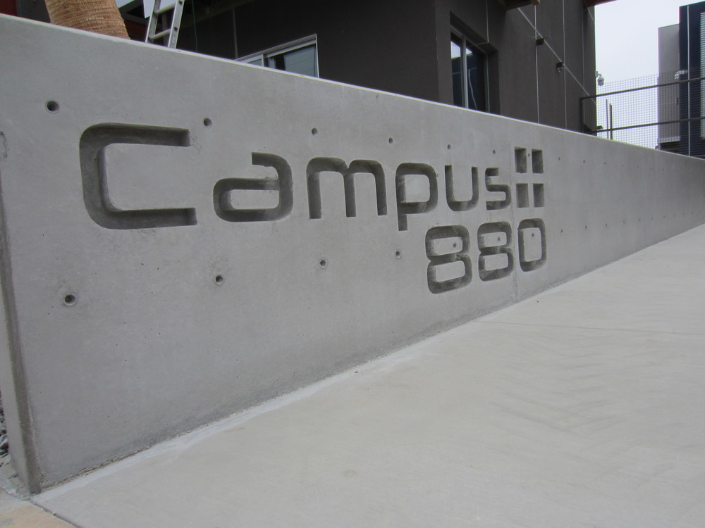 Detail of entry signage (construction)    ​