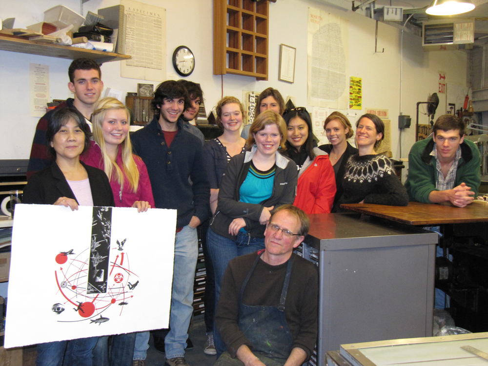 Printmaking residency Bowdoin College 2011