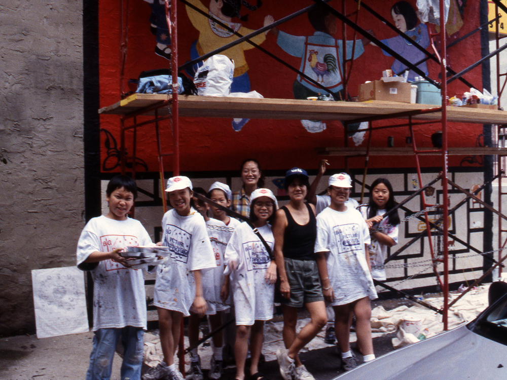 Young artists from Big Picture Mural Arts Program, Philadelphia Chinatown, 2003
