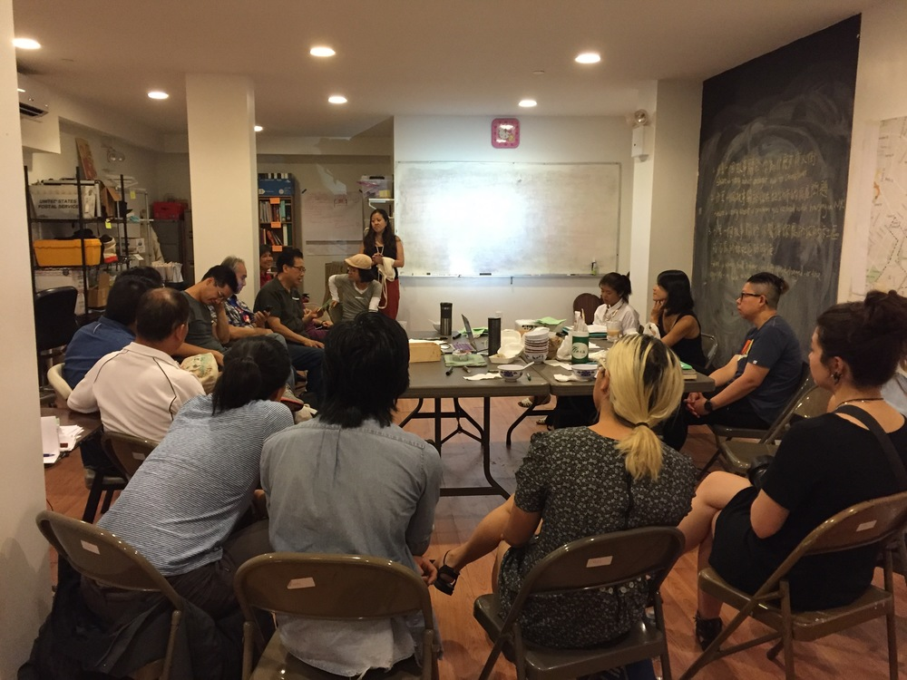 Here to Stay summer workshops at the CAAAV offices have begun, with members of the Chinatown Tenants Union and Chinatown Art Brigade volunteers gathering to discuss ways to support the Chinatown Working Group's rezoning plan.