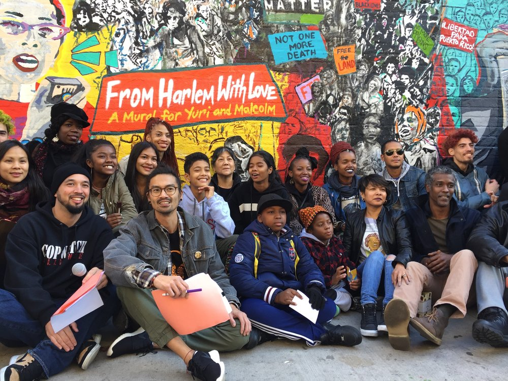 "Friends and family celebrate 'From Harlem With Love"": a Mural for Yuri Kochiyama and Malcolm X"