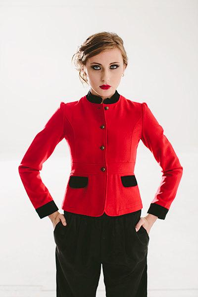 New Vintage 1980s Red Wool Jacket