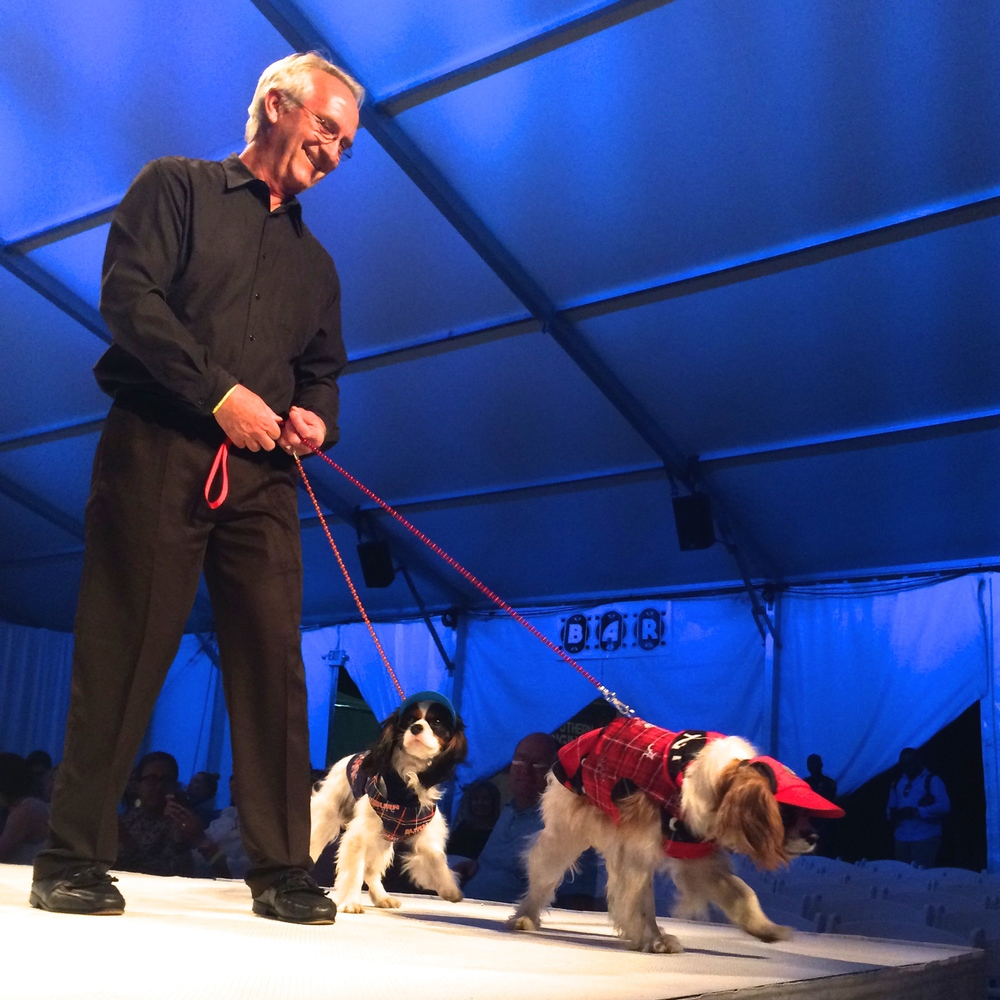 Spoiled Dog Designs wasn't afraid to bring one of the fiercest rivalries in college football to the cavwalk: Nick and Amos show off their Alabama and Auburn attire, respectively.
