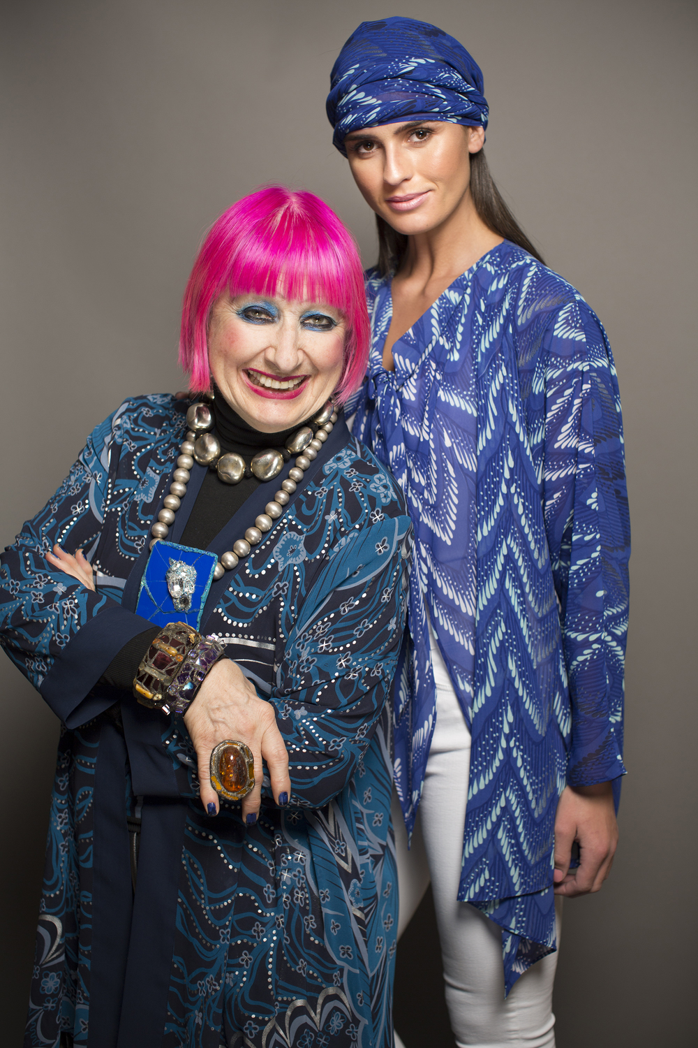 Zandra Rhodes & Model Lynn Kelly