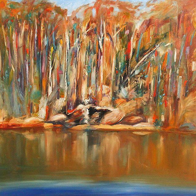 AUSTRALIAN BILLABONG I & II Oil on Canvas // 135 x 135 cm nealejoseph.com . . . #art #artist #artistoninstagram #artgallery #oilpainting #oiloncanvas #painting #nealejoseph #landscape #contemporaryart #modernart #landscapeart #artgallery #collectableart #fineart #palette #australia #australianbillabong #billabong #nature #reflections