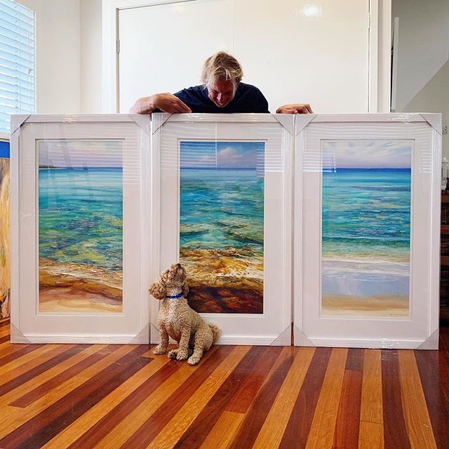 COLOURS OF THE CARIBBEAN  Triptych for a client and good friend, designed for his new modern house on the water. I hope he likes them as much as my dog George does. NJ